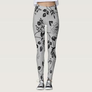 Retro-Silver-Gray_Floral_XS-TO--XL_Leggings_ Leggings