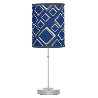 Retro Silver Squares On Blue Table Lamp