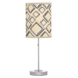 Retro Silver Squares On Creme Table Lamp