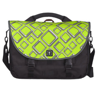 Retro Silver Squares on fluo green Laptop Bag