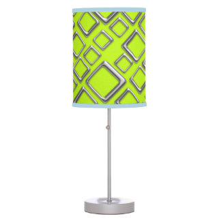 Retro Silver Squares On Fluo Green Table Lamp