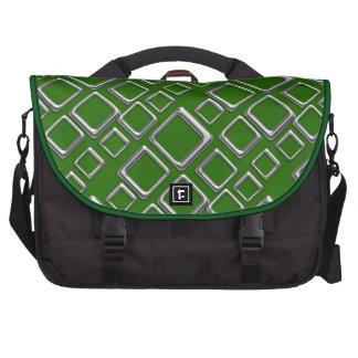 Retro Silver Squares on Green Laptop Bag