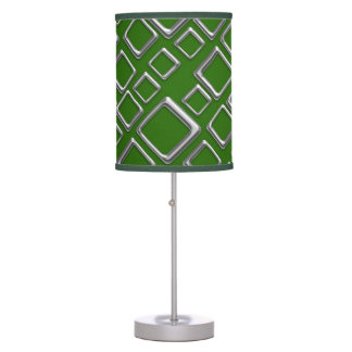 Retro Silver Squares On GreenTable Lamp