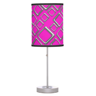 Retro Silver Squares On Hot Pink Table Lamp