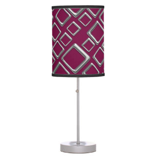 Retro Silver Squares On Maroon Table Lamp