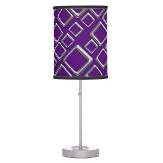 Retro Silver Squares On Purple Table Lamp