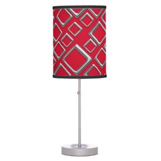 Retro Silver Squares On Red Table Lamp