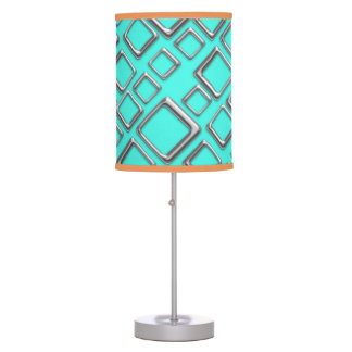 Retro Silver Squares On Turquoise Table Lamp