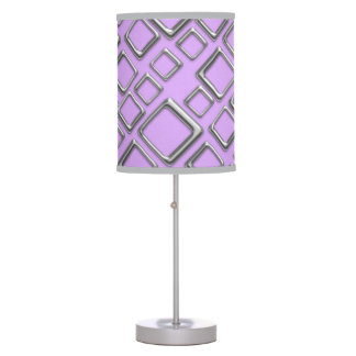 Retro Silver Squares On Violet Table Lamp