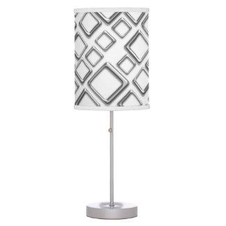 Retro Silver Squares On White Table Lamp