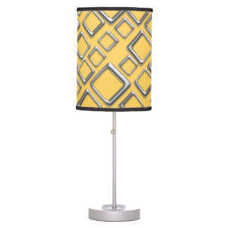 Retro Silver Squares On Yellow Table Lamp