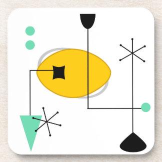 retro simple amarillo azul moderno de los mediados posavasos