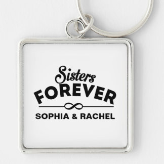 Retro - Sisters Forever Silver-Colored Square Keychain