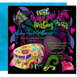 Retro Sixties Peace and Love 16th Birthday Party Invitation