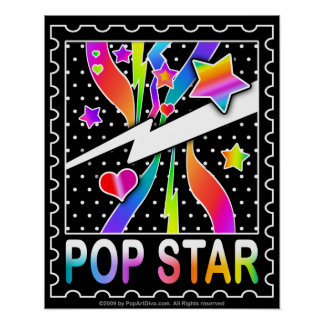 Retro Sixties Pop Star, Black Poster