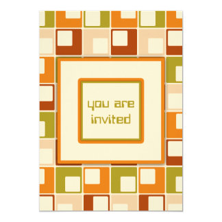 Retro Sixties Squares Pattern Personalized 5x7 Paper Invitation Card