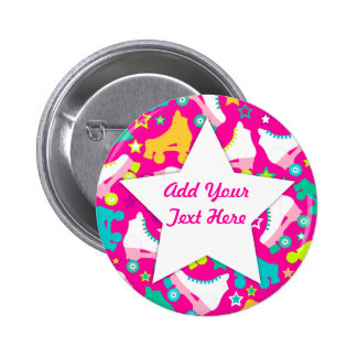 Retro Skates Hot Pink Custom Pin Button