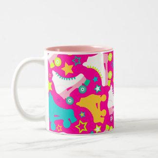 Retro Skates Hot Pink Mugs