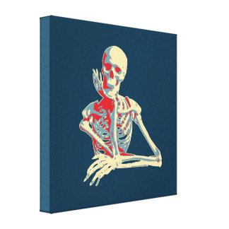 retro skeleton canvas print
