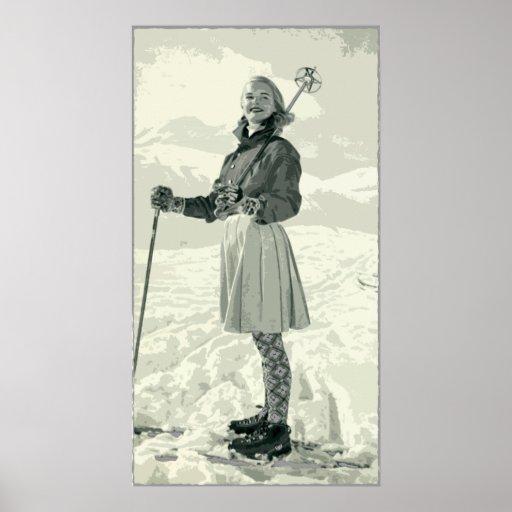 RETRO SKI GIRL SPORT POSTER