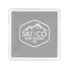 Retro Ski Mountain Aspen Colorado Monogrammed Acrylic Tray