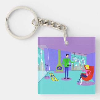 Retro Ski Vacation Keychain
