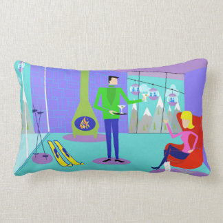 Retro Ski Vacation Pillow