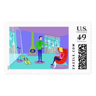 Retro Ski Vacation Postage Stamps