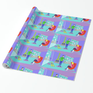 Retro Ski Vacation Wrapping Paper