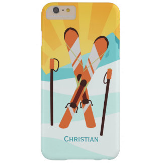 Retro Skiing Design with Snowy Landscape Barely There iPhone 6 Plus Case