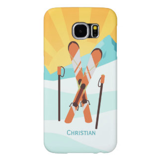 Retro Skiing Design with Snowy Landscape Samsung Galaxy S6 Cases