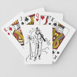 Retro Skiing Lady Playing Cards