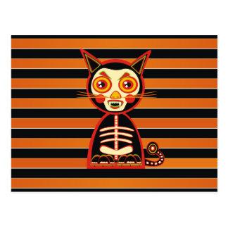 Retro Skull Cat Postcard