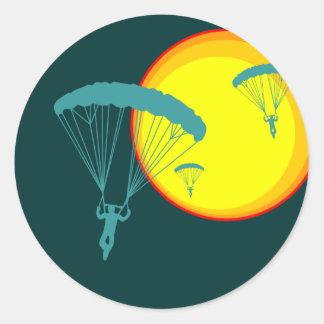 retro sky divers classic round sticker