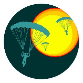 retro skydivers 5.25x5.25 square paper invitation card