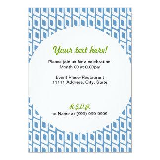 Retro Slanted Squares Invitation Blue