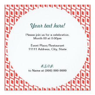 Retro Slanted Squares Invitation Red