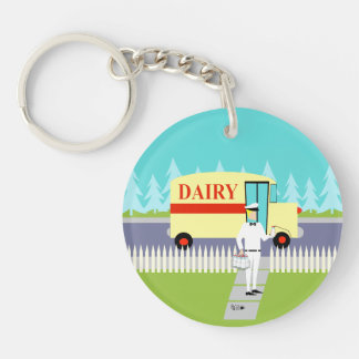 Retro Small Town Milkman Acrylic Keychain