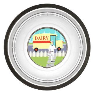 Retro Small Town Milkman Acrylic Pet Bowl