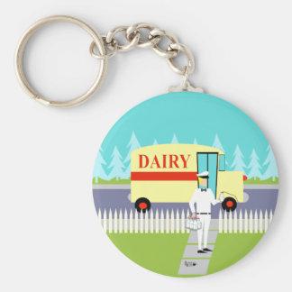Retro Small Town Milkman Button Keychain