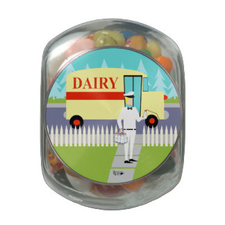 Retro Small Town Milkman Candy Jar Glass Candy Jars