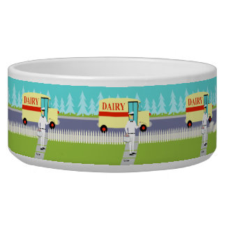 Retro Small Town Milkman Ceramic Pet Bowl