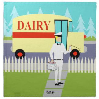 Retro Small Town Milkman Cloth Napkins