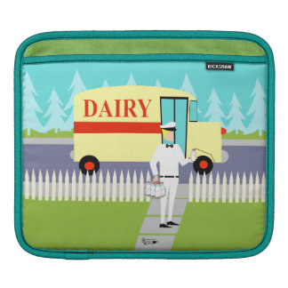 Retro Small Town Milkman iPad Sleeve