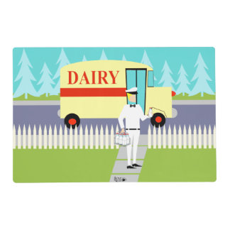 Retro Small Town Milkman Laminated Placemat