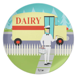 Retro Small Town Milkman Melamine Plate