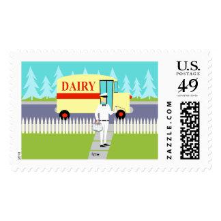 Retro Small Town Milkman Postage Stamps