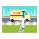 Retro Small Town Milkman Postcard