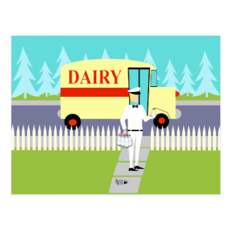 Retro Small Town Milkman Postcard