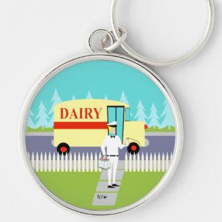 Retro Small Town Milkman Round Keychain